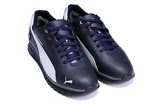 Мужские зимние кожаные ботинки в стиле Puma BMW MotorSport Blue Pearl, фото 2