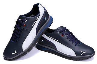 Мужские зимние кожаные ботинки в стиле Puma BMW MotorSport Blue Pearl, фото 3