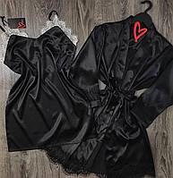 Черный шелковый комплект с кружевом халат и комбинация.