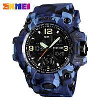 Skmei 1155 B  hamlet  синий камуфляж мужские спортивные часы, фото 1
