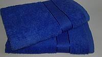 Махровое полотенце 70х140 см для лица, 400 г/м, Узбекистан, синего цвета