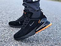 Мужские зимние кроссовки Nike Air Max 270 черные/оранж реплика