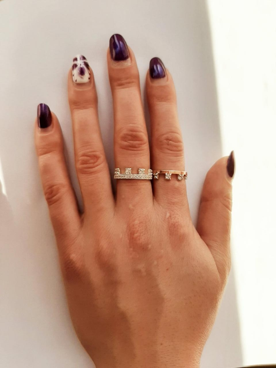 """Серебряные кольца с золотыми пластинами """"Дуэт"""""""