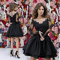 Красивое короткое приталенное женское платье верх с отделкой из дорогого гипюра и пышная юбка 42, 44, 46