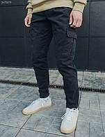 Теплые мужские брюки карго Стафф / Чоловічі зимові штани Staff cargo dark TS fleece SNT0079