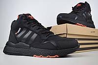 Кроссовки зимние Adidas Jogger мужские черные, в стиле Адидас. Нубук Мех 100% Прошиты Код OD-3441