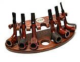 Гравировка на подарок другу - подставка для курительных трубок из ясеня под 7 шт, фото 4