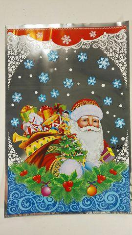Новогодние пакеты для конфет и подарков (20*30) №36 Дед Мороз с подарками (100 шт)