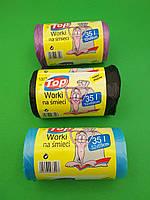 Мусорные пакеты с ручками ТОР - 35л, LD, 100шт/рул, фото 1
