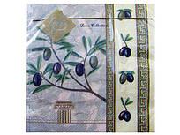 Дизайнерська серветка (ЗЗхЗЗ, 20шт) Luxy Грецька оливка (607) (1 пач.)