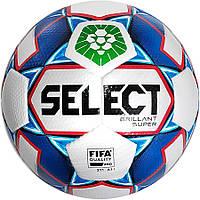 Мяч футбольный SELECT Brillant Super FIFA PFL бело-синий, размер 5