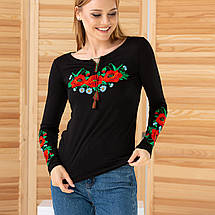 Женская вышиванка трикотажная Маки черная, фото 2