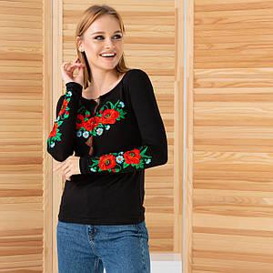 Женская вышиванка трикотажная Маки черная