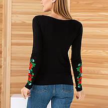 Женская вышиванка трикотажная Маки черная, фото 3