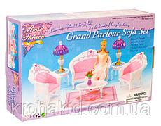 Меблі для ляльок Барбі Глорія вітальня з диваном, кріслами, столиком і світильниками Gloria 2604
