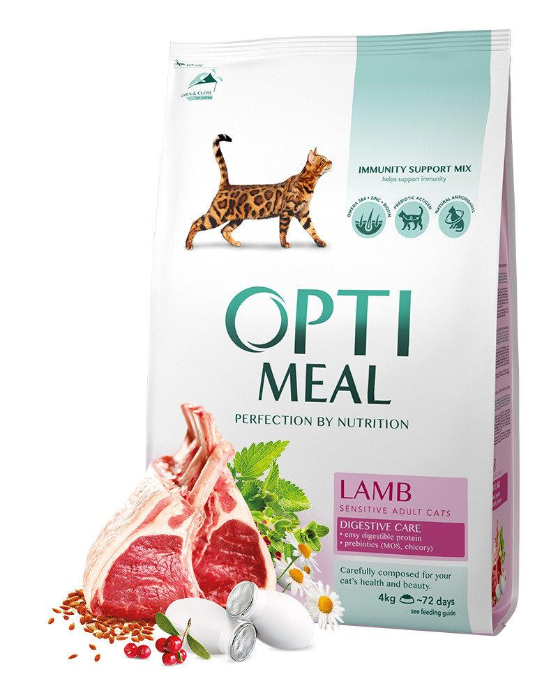 Сухой корм OPTIMEAL для взрослых котов, чувствительное пищеварение, с ягненком 4КГ