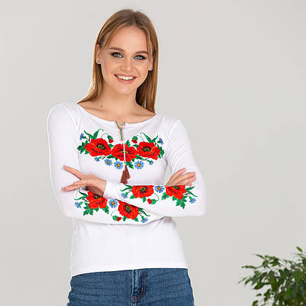 Женская вышиванка трикотажная Маки белая, фото 2