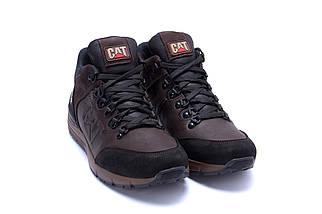 Мужские зимние кожаные ботинки в стиле CATERPILLAR Chocolate, фото 3