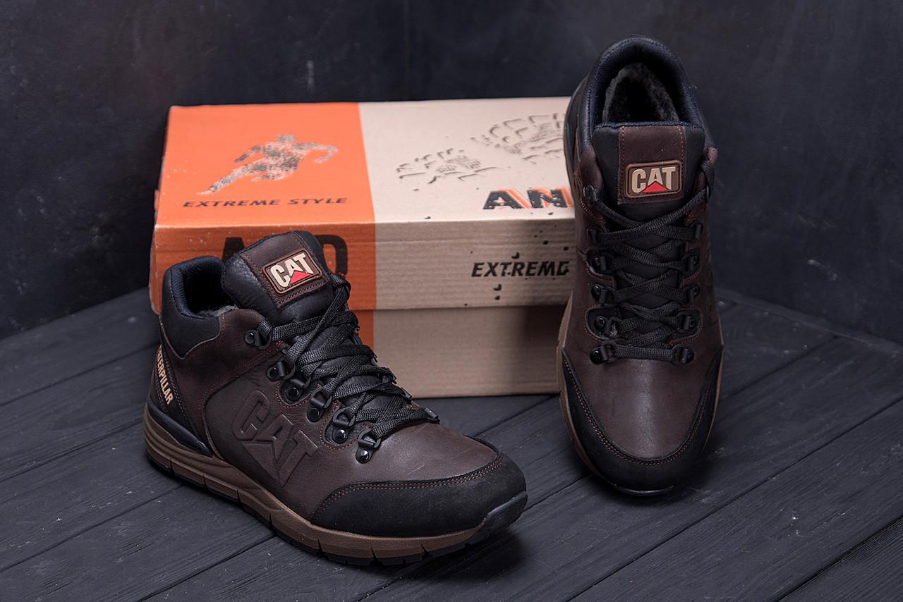 Мужские зимние кожаные ботинки в стиле CATERPILLAR Chocolate