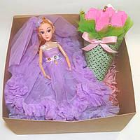 Подарочные набор для девочки Кукла и букет конфет набор в подарочной коробке Фиолет