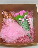 Подарочные набор для девочки Кукла и букет конфет набор в подарочной коробке Розовый, фото 2