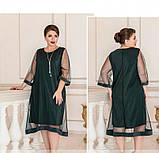 Лёгкое, воздушное платье из шифона №732Б-темно-зеленый, фото 2