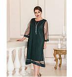 Лёгкое, воздушное платье из шифона №732Б-темно-зеленый, фото 3