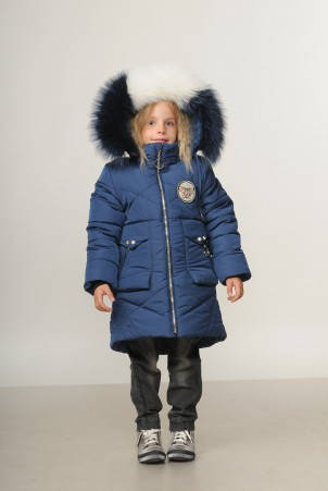 Детское зимнее пальто для девочки  Жемчужинка,  98-116, натуральный мех