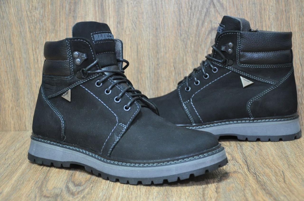 Зимние мужские высокие ботинки натуральный нубук и натуральный мех Maxus