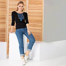 Трикотажная кофта с вышивкой Ромбы синие, фото 3