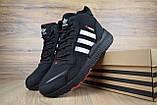Мужские зимние кроссовки в стиле Adidas Jogger черные (серебристые полоски), фото 2