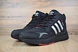 Мужские зимние кроссовки в стиле Adidas Jogger черные (серебристые полоски), фото 3