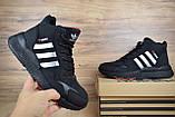 Мужские зимние кроссовки в стиле Adidas Jogger черные (серебристые полоски), фото 6