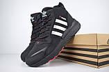 Мужские зимние кроссовки в стиле Adidas Jogger черные (серебристые полоски), фото 5