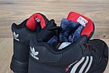 Мужские зимние кроссовки в стиле Adidas Jogger черные (серебристые полоски), фото 8