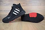 Мужские зимние кроссовки в стиле Adidas Jogger черные (серебристые полоски), фото 7