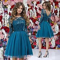 Красивое короткое приталенное женское платье верх с отделкой из гипюра с пайеткой и пышная юбка 42, 44, 46