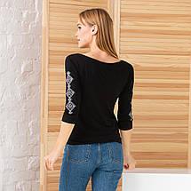 Женская вышитая футболка рукав три четверти Ромбы, фото 3
