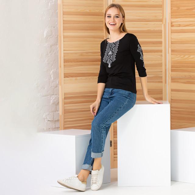 Женская вышитая футболка рукав три четверти Ромбы