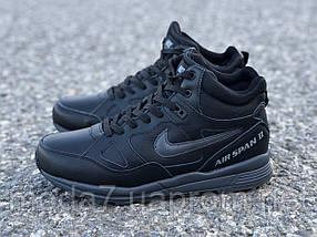 Мужские зимние кроссовки Nike Air Span ll черные реплика, фото 3