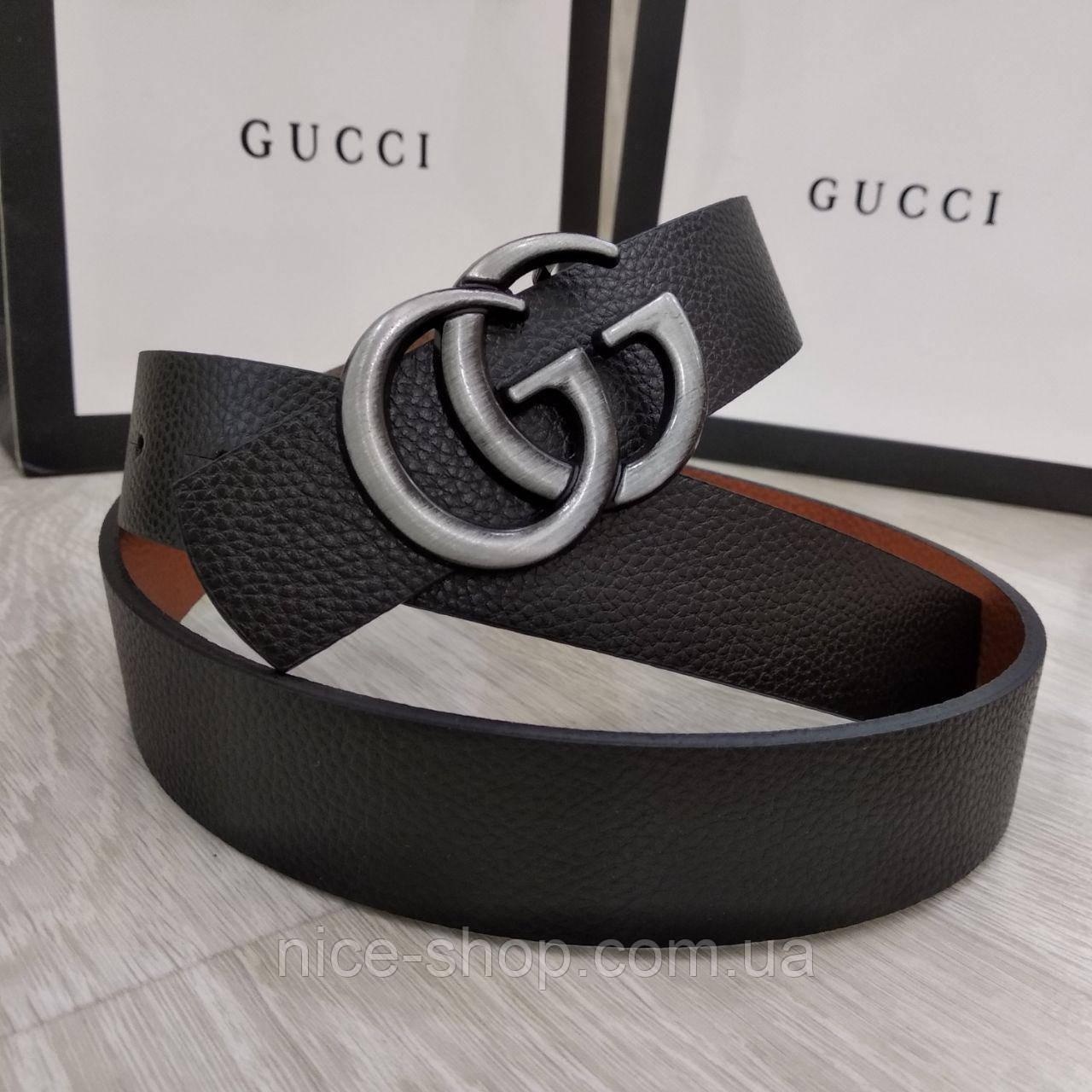 Ремень Gucci черный с серебряной матовой пряжкой, узкий, 3 см