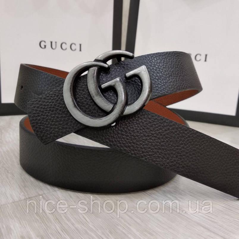Ремень Gucci черный с серебряной матовой пряжкой, узкий, 3 см, фото 2