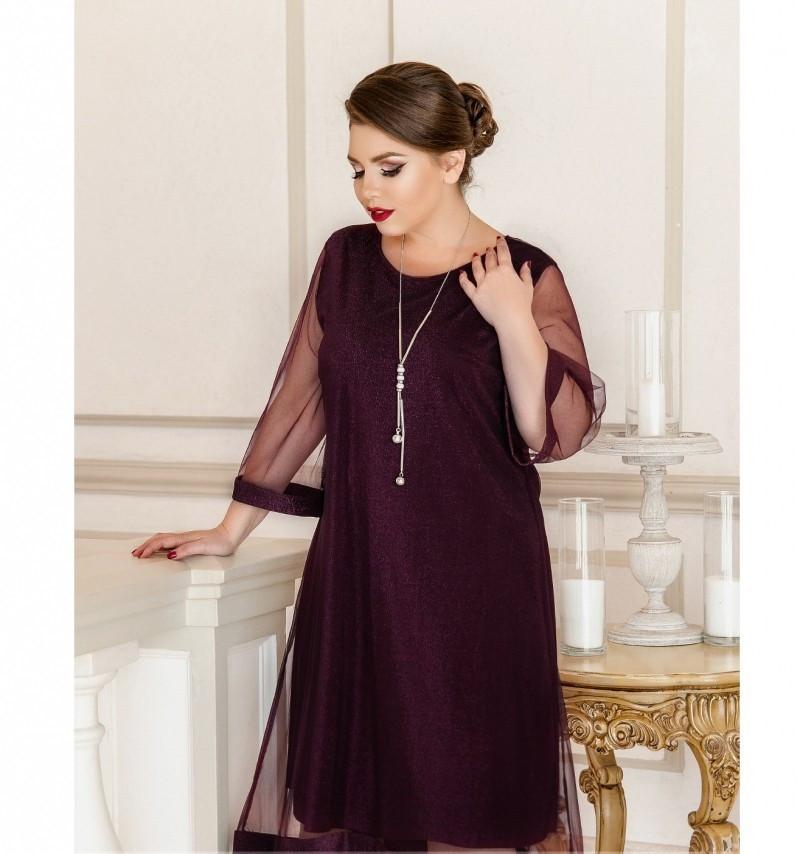 Лёгкое, воздушное платье из шифона №732Б-бордо