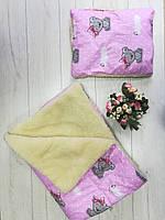 Детское одеяло+подушка «Тедди девочка», на овчина
