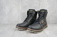 Ботинки мужские  Rivest зимние из натуральной кожи удобные непромокающие высокие на меху, черные, ТОП-реплика