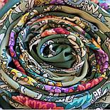 Кружевной 951-10, павлопосадский платок (шаль, крепдешин) шелковый с шелковой бахромой, фото 5