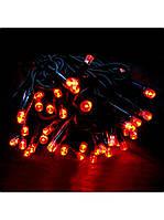 Гирлянда Красная   черный шнур (уличная)10м G085