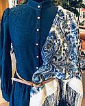 Оберег 1638-4, павлопосадский платок шерстяной  с шелковой бахромой, фото 3