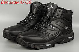 Ботинки мужские мех черные великаны баталы Bona 760С-8 Бона Размеры 47 48