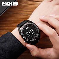 Оригинальные мужские часы SKMEI Drum 1516 Черные с черным экраном и черным ремешком